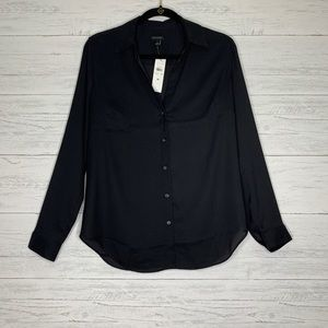 Ann Taylor Button Down Blouse Black Size Medium